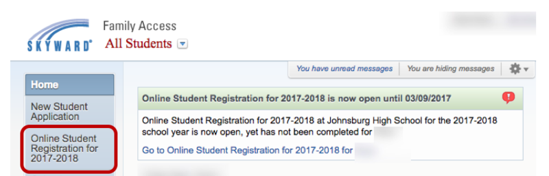 student registration link screenshot